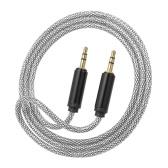 3,5 mm Jack Audio Cable Auxiliar Masculino para cabo de áudio auxiliar masculino para carro / telefone / laptop, prata