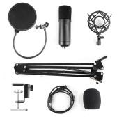 Condenser Microphone Adjustable Condenser Microphone Kit Studio Suspension Boom for Computer Audio Studio Recording Vocal Mic with Microphone Holder