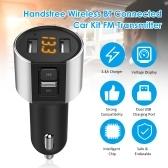 C26S Handsfree BT Transmissor FM estéreo sem fio conectado Carregador de carro USB