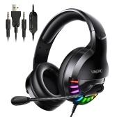 Q2 Gaming Headset Over-Ear Kabelgebundener Gaming Kopfhörer mit 360 ° Rauschunterdrückungsmikrofon