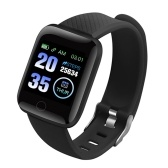 116 Plus Intelligent Bracelet 1.3Inch Color Screen UBS Charge Heart Rate Monitoring IP67 Waterproof Sports Tracker (Black)