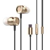 USB Tipo-c fone de ouvido de metal com fio fone de ouvido fone de ouvido tipo C Fone de ouvido intra-line Controle w / Mic para Xiaomi 6 Nota 3 MIX 2 LeVe LeEco Le 2 3 Smartisan Pro Pro 2 Gold