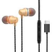 Fone de ouvido de metal com fio tipo-C na orelha com microfone