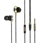 X800 fones de ouvido com fio de bobina movente dupla de 3,5 mm com microfone