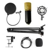 Micrófono de condensador Kit de micrófono de condensador ajustable Pluma de suspensión de estudio para computadora Audio Grabación de estudio Micrófono vocal con soporte para micrófono