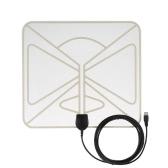 Flat TV HD numérique Antenne intérieure HDTV High Gain 35 Miles Plage ATSC DVB ISDB avec 10ft haute performance câble coaxial