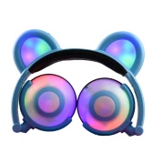 Fone de ouvido Fofo Folded Bear Orelhas Earlaps Com LED Light Button Bateria Soft Band Headset