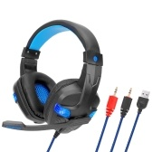 SY860MV Gaming Headset 3.5mm Wired Over Ear Headphones Noise Canceling Earphone with Mic LED Light Volume Control AUX+USB for Desktop PC