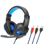 SY860MV Игровая гарнитура 3.5 мм для наушников с наушниками и микрофоном Светодиодный регулятор громкости AUX + USB для настольных ПК