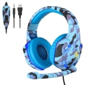 KUBITE T176 Gaming Headset 3.5mm+USB Plug Over-Ear Headphone with Adjustable Microphone Volume Control for PC Laptop Smart Phone