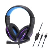 SY755MV Luminous Game Headphone Over-ear Gaming Headset with Microphone PC Gamer 3.5mm Headphones Noise Cancelling Compatible with PS4 Xbox Laptop Computer