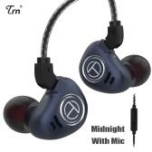 TRN V90 3.5mm Fones de Ouvido Intra-auriculares 1DD + 4BA Híbrido de Metal Hifi Esportes Headset Música Fone de Ouvido com Microfone Cabo Destacável de 2 pinos