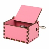 Vintage Wooden Theme Song Music Box Hand-operated Carved Engraving Music Case Creative Holiday Festival Birthday Gifts Present for Kids Children Pink