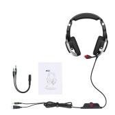 ONIKUMA K12 Game Headphones Over Ear Gaming Gaming Headset Reduction Microphone Luz LED 3,5mm Áudio + Porta USB + Conjunto de cabos divisores para PS4 Laptop Tablet Celulares