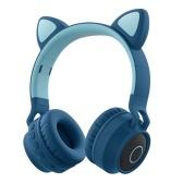 Faddish Student Cute Cat's Ears Auriculares montados en la cabeza Sin cables Dibujos animados BT Juego Auriculares recargables