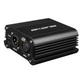 Skerei K-100 1-Channel 48V Phantom Power Supply com adaptador de alimentação e XLR Cabo de microfone para microfones de condensador Equipamento de gravação de música Transferir sinal de som para placa de som externa EU Plug