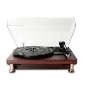 Tourne-disque vinyle rétro avec couvercle anti-poussière Tourne-disque de style nostalgique classique