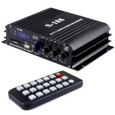 S-188 Mini Audio Power Amplifier 2.1 Channel Digital BT Amplifier 40W*2+68W USB Memory Card Slot MP3 Player LCD Display with Remote Control Bass Treble Volume Control