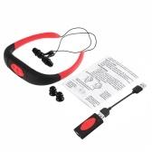 Lecteur MP3 sport de seconde main 8Go super étanches à l'eau casque stéréo sans fil IPX8 pour la natation Surf (Rouge)