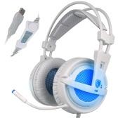 SADES A6 Gaming-Kopfhörer mit Mikrofon USB-Over-Ear-Stereo-Gaming-Headset mit LED-Rauschunterdrückung und HiFi-Soundeffekt-Musikkopfhörer für Desktop-Notebooks
