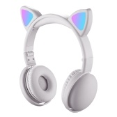 LED Cat Ear Headphones RGB Color Bluetooth 5.0 Headsets Noise Cancelling Foldable Adults Kids Earphone with Mic