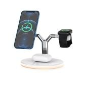 3-in-1-Wireless-Ladegerät Wireless-Schnellladeständer Quick Charger Base mit Nachtlicht QI-Standardersatz für iWatch Airpods Pro iPhone 12 / 12pro Max Wireless-Ladekissen