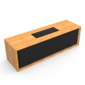 BT-2 Wooden Bluetooth Speaker Wireless Speaker Audio Strong Bass Powerful Volume Support TF AUX IN Hands-free Calls w/ Mic Black