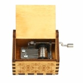Vintage Wooden Theme Song Music Box Hand-operated Carved Engraving Music Case Creative Holiday Festival Birthday Gifts Present for Kids Children Yellow