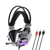 SY850MV Gaming Headset 3.5mm Wired Over Ear Headphones Noise Canceling E-Sport Earphone with Mic LED Light Volume Control AUX+USB for Desktop PC