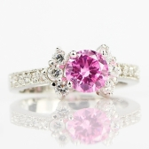 Fashion 925 sterling silver Ring 3ct Size 6-9 amazing Princess cut Pink Sapphire & Topaz Engagement Ring black 5