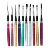 Professionelle 10ST Nageldesign Kunst, die polnische Brush Pen Nylon UV Gel Malerei Werkzeug Nagel Print Brush Dekoration Kit-Set