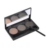 Polvo de la ceja de Focallure 3 herramienta cosmética profesional del maquillaje de la ceja de la mujer de la gama de colores de la ceja de las cejas con el cepillo y el espejo 1 #
