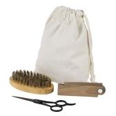 3pcs hombres cepillo de barba peine kit de tijera cepillo de afeitar + Verawood barba peine + acero inoxidable tijera masculino cepillo de pelo facial conjunto