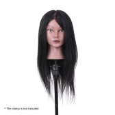 "19"" Hairdressing Training Head Dummy Head Cosmetology Mannequin Head 80% Real Hair + 20% High Temperature Fiber Black"