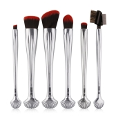6 stücke Silber Shell Kosmetik Make-Up Pinsel Set Foundation Power Contour Lidschatten Brau Blending Schönheit Make-Up Tool Kits