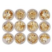 12PCS Gold Foil Nail Stickers 3D Glitter DIY Nails Decoration UV Gel Tool Decoration