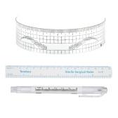 3Pcs Doppel-köpfiger Tätowierungs-Haut-Markierungs-Stift + Augenbraue-Tätowierungs-Maß-Papiermachthaber für dauerhaftes Verfassungs-Tätowierungs-Werkzeug mit gewölbtem Augenbrauen-Machthaber