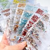 混合サイズ1440個のガラスネイルラインストーンネイルアート装飾クリスタルストラスチャームパーティションラインストーンセット
