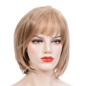 ファッショナブルなヘアウィッグ女性ショートストレートヘアバンズと女の子のヘアピースのヘアエクステンション耐熱性の女性の女の子のコスプレ