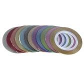 12pcs mezcló los colores brillantes del arte del clavo de la etiqueta engomada rollos finos creación de bandas de cinta reluciente Línea Styling DIY del arte del clavo de la decoración Etiqueta Fashion Designs