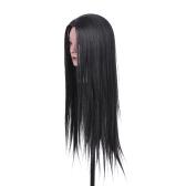 """Cabeça de treino de cabeleireiro 23 """"cabeça manequim cabeça de manequim de cosmetologia 30% cabelo real + 70% fibra alta temperatura preto"""