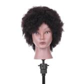 Cabeza de maniquí de Afro Cabeza de entrenamiento de peluquería para práctica de trenzado de peluquería Cabeza de maniquí afroamericana con 100% de cabello humano negro