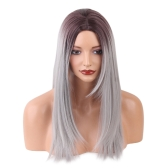 1pc Peruca Long Straight Gradient Cor Cinza com tranças brancas Cosplay Hair Costume Heat Resistant Woman