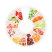 12 Grids 3D Nail Art Colorido Argila Do Polímero Flor De Frutas Fatias DIY Design Charme Estilo Verão Decorações Acessórios Kits