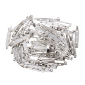 50pcs Pins de segurança Broches Badge Breastpin DIY Tool Safety Bloquear Tag Pins Metal prateado 20mm