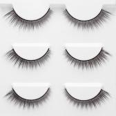 3 Pairs 3D False Eyelashes Invisible Band Natural Dense Cross Black Eyelash Full Strip Reusable