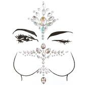 大きなクラシックセレブリティフェイスブレストジェムキットクラスター自己接着ステッカー宝石のボディ装飾ラインストーン一時的なタトゥーの宝石祭パーティーキラキラステッカー簡単に操作する