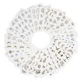 30 Folhas de Moda 3D Ouro / Prata Designs Etiqueta Do Prego Transferência De Água Prego Decalques Nail Paper Tip Beleza Beleza DIY