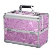 Plegable del caso Maquillaje portátil organizador cosmético Caja de Herramientas de Maquillaje con llave Soporte Caja de almacenamiento para la joyería y clavo de las herramientas del arte