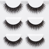 3 Pairs 3D False Eyelashes Invisible Band Natural Dense Cross Black Eyelash Full Strip Reusable